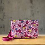 Kabelky - Kabelka SLIM bag - ružová s ružovo bielou potlačou - 10271045_