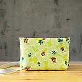Kabelky - Kabelka SLIM bag - žltozelená s bielou potlačou - 10271086_