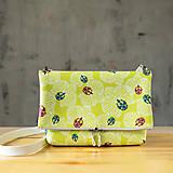 Kabelky - Kabelka SLIM bag - žltozelená s bielou potlačou - 10271087_