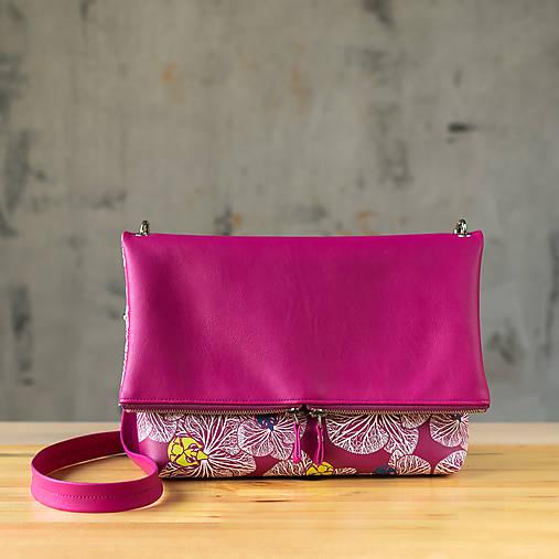 Kabelka SLIM bag - ružová s ružovo bielou potlačou