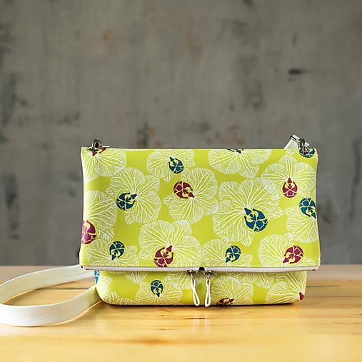Kabelka SLIM bag - žltozelená s bielou potlačou