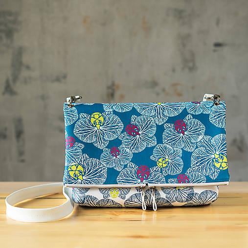 Kabelka SLIM bag - bielo modrá potlač, pozitív- negatív