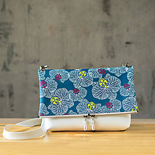 Kabelky - Kabelka SLIM bag - biela s modro bielou potlačou - 10271035_