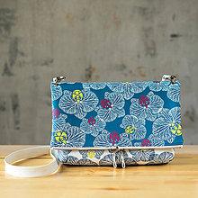 Kabelky - Kabelka SLIM bag - bielo modrá potlač, pozitív- negatív - 10271096_