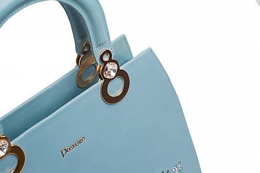 Kožená modrá kabelka s výšivkou a pozlátenými komponentmi   PLZR ... e4b634ba140
