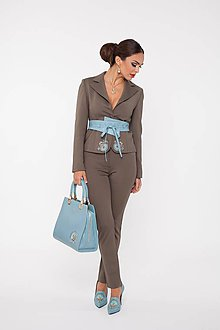 Kabáty - Dámske sako hnedé s výšivkou a kryštálmi - 10270126_