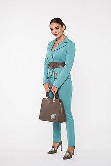 Kabáty - Dámske sako modré  s výšivkou a kryštálmi - 10270146_