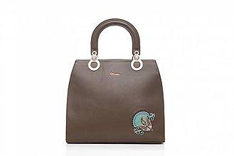 Kabelky - Kožená hnedá kabelka s výšivkou a pozlátenými komponentmi - 10271270_