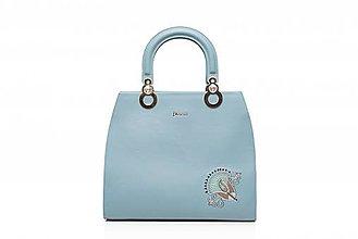 Kabelky - Kožená modrá kabelka s výšivkou a pozlátenými komponentmi - 10271287_
