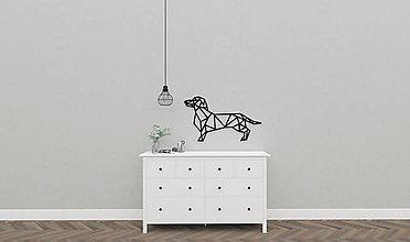 Dekorácie - Kovová geometrická nástenka / dekorácia DOGGY - 10273364_