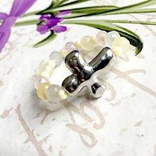 Prstene - Elastic Rosary Morganite Jade Antique Silver Ring / Elastický prsteň - ruženec morganitový jadeit, starostriebro /1390 - 10272524_