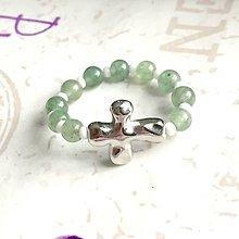 Prstene - Elastic Rosary Green Aventurine Antique Silver Ring / Elastický prsteň - ruženec zelený aventurín, starostriebro /1392 - 10273565_