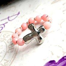 Prstene - Elastic Rosary Mother of Pearl Antique Silver Ring / Elastický prsteň - ruženec perleť, starostriebro /1393 - 10273668_