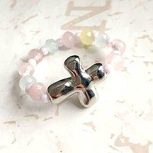 Prstene - Elastic Rosary Morganite Jade Antique Silver Ring / Elastický prsteň - ruženec morganitový jadeit, starostriebro /1397 - 10273788_