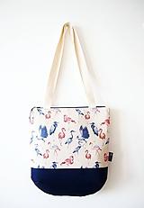Veľké tašky - Veľká režná taška na plece - plameniaci - 10273351_