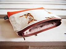 Taštičky - Kozmetická taška veľká režná - líšky s oranžovou - 10273475_