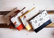 Taštičky - Kozmetická taška veľká režná - líšky s oranžovou - 10273481_