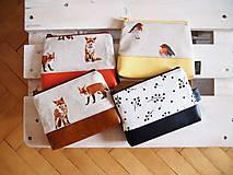 Taštičky - Kozmetická taška veľká režná - líšky s oranžovou - 10273482_