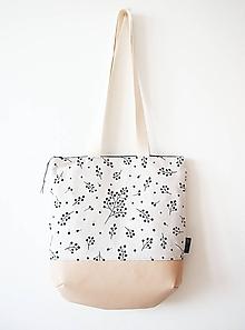 Veľké tašky - Veľká režná taška na plece - vetvičky s béžovou - 10273366_