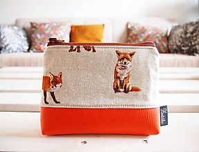 Taštičky - Kozmetická taška veľká režná - líšky s oranžovou - 10273477_