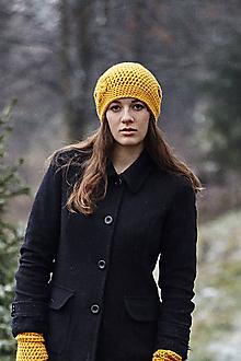 Čiapky - Horčicovo-oranžová čiapka + rukavice - 10273163_
