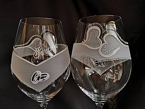 Nádoby - Svadobné poháre vzor č.103-vínko - 10271726_