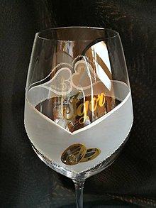 Nádoby - Svadobné poháre vzor č.103 - vínko - kombinácia so zlatom 1 - 10271773_