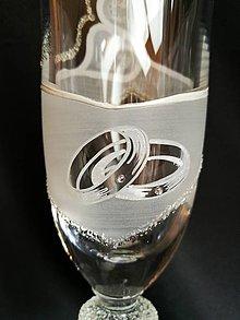 Nádoby - Svadobné poháre vzor č.103 - šampus - kombinácia s kamienkami - 10271804_