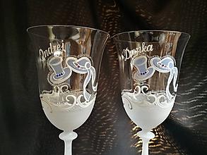 Nádoby - Svadobné poháre vzor č.65 - vínko - kombinácia s kamienkami - 10271906_