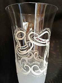 Nádoby - Svadobné poháre vzor č.65 - šampus - kombinácia s kamienkami - 10271926_