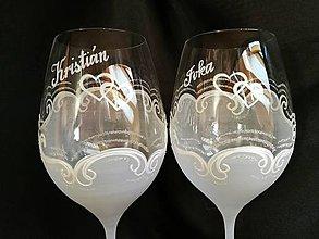 Nádoby - Svadobné poháre vzor č. 94 - vínko - 10271942_