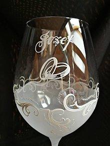 Nádoby - Svadobné poháre vzor č. 69 s obrúčkami - 10272153_