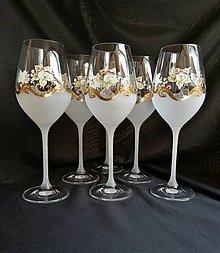 Nádoby - Súprava pohárov vzor č.13 so zlatom - 10273066_