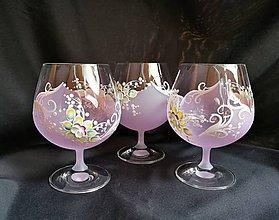 Nádoby - Súprava pohárov vzor č.82 ružová/purpur - 10273142_