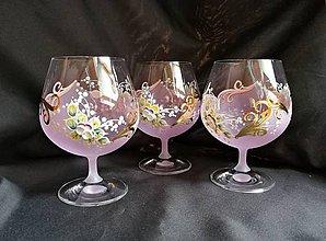 Nádoby - Súprava pohárov vzor č.82 ružová/purpur so zlatom - 10273173_