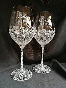 Nádoby - Svadobné poháre na vínko s motívom čipky - 10273291_