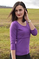 Tričko na dojčenie basic s 3/4 rukávom - fialová