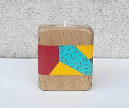 Svietidlá a sviečky - Drevený svietnik SOLE - ručne maľovaný - 10273243_