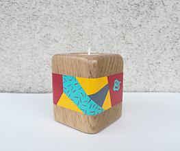 Svietidlá a sviečky - Drevený svietnik SOLE - ručne maľovaný - 10273262_