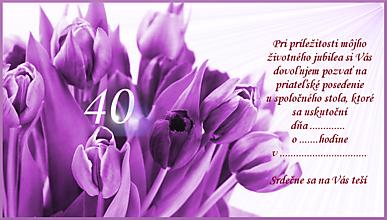 Nezaradené - Pozvánka na oslavu-fialové tulipány - 10273241_