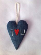 Dekorácie - Denimové srdce - 10271553_