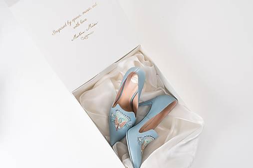 Dámske kožené topánky s výšivkou modré