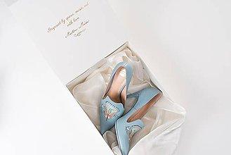 Obuv - Dámske kožené topánky s výšivkou modré - 10272802_