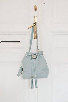 Kabelky - Kožený vak modrý s pozláteným šperkom - 10273174_