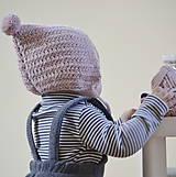 Detské čiapky - Čepček...púdrový - 10274048_