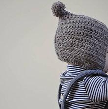 Detské čiapky - Čepček...šedohnedý - 10274049_