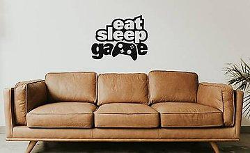 Dekorácie - Nálepky na stenu  - Eat Sleep Game (Azúrovo modrá) - 10273991_