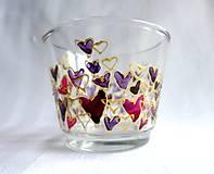 Svietidlá a sviečky - Farebné srdiečka - maľovaný sklenený svietniček - na objednávku - 10275857_