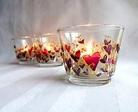 Svietidlá a sviečky - Farebné srdiečka - maľovaný sklenený svietniček - na objednávku - 10275882_