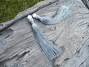 Náušnice - Náušnice Strapcové strieborno-biele - 10276389_